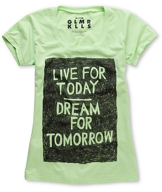 Glamour Kills Live For Today Neon Green Scoop Neck T-Shirt