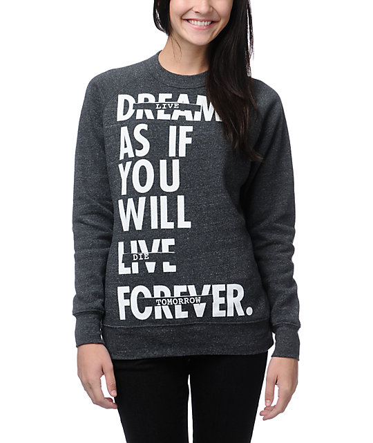Glamour Kills Live Forever Charcoal Crew Neck Sweatshirt