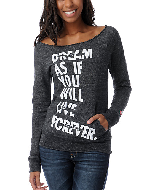 Glamour Kills Live Forever Charcoal Raw Hem Raglan Top