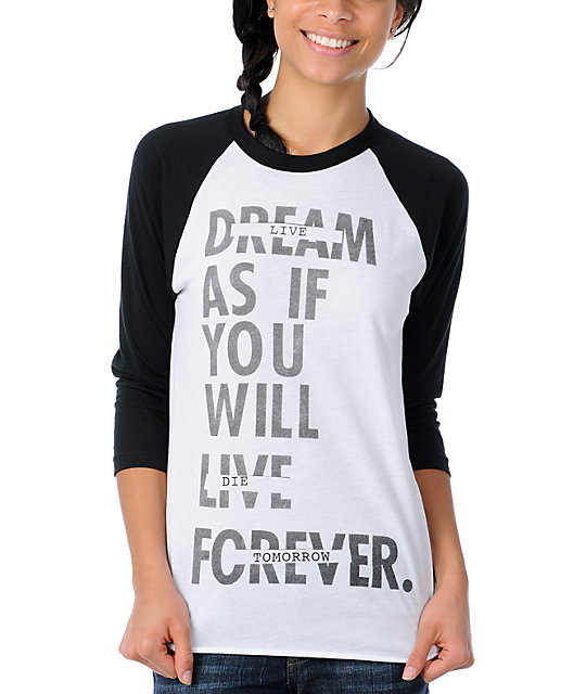 Glamour Kills Live Forever Tomorrow Black  Baseball Tee