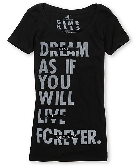 Glamour Kills Live Forever Tomorrow Black T-Shirt