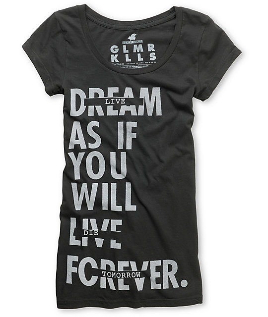 Glamour Kills Live Forever Tomorrow Charcoal T-Shirt