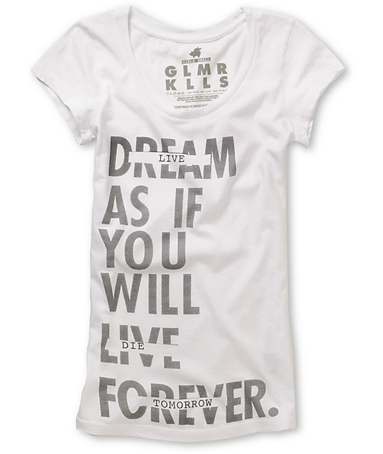 Glamour Kills Live Forever Tomorrow Scoop-Neck T-Shirt