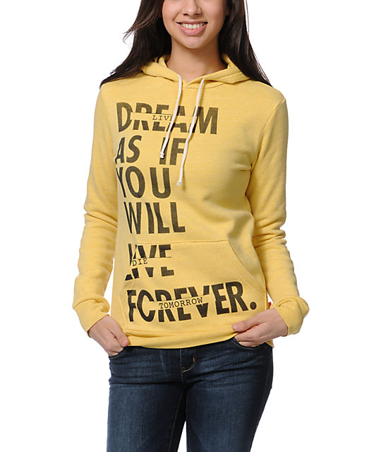 Glamour Kills Live Forever Yellow Pullover Hoodie