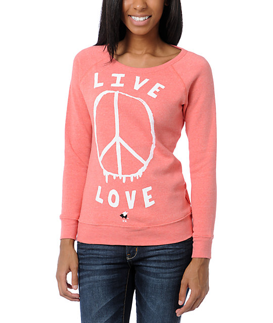 Glamour Kills Live Love Coral Crew Neck Sweatshirt