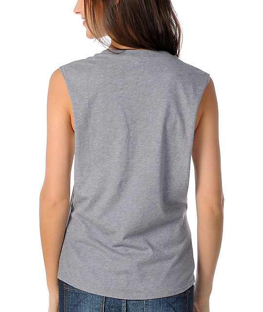 Glamour Kills Logo Grey Cut Off Tank Top