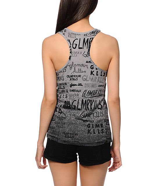 Glamour Kills Logofied Grey Tank Top
