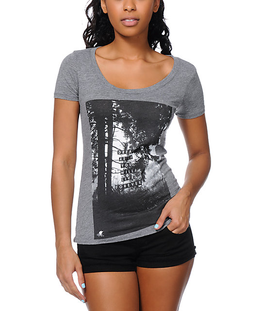 Glamour Kills Lost In Dreams Grey Scoop Neck T-Shirt