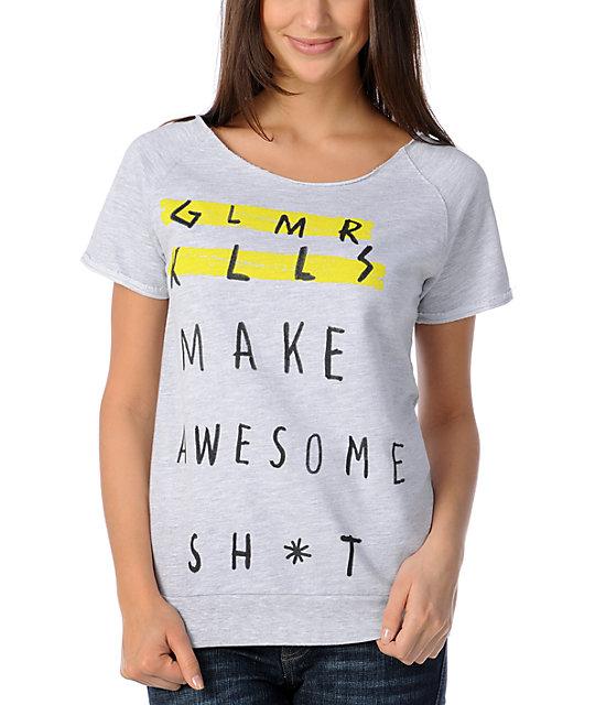 Glamour Kills Make Awesome Stuff Cut Off Crew Neck Sweatshirt