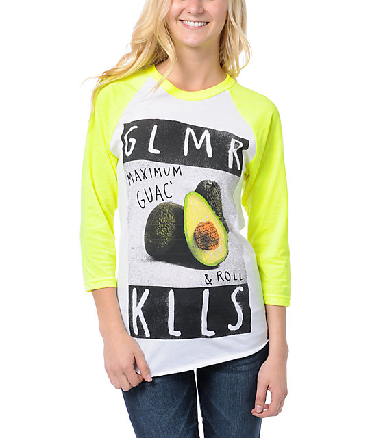 Glamour Kills Max Guac & Roll White & Yellow Baseball Tee
