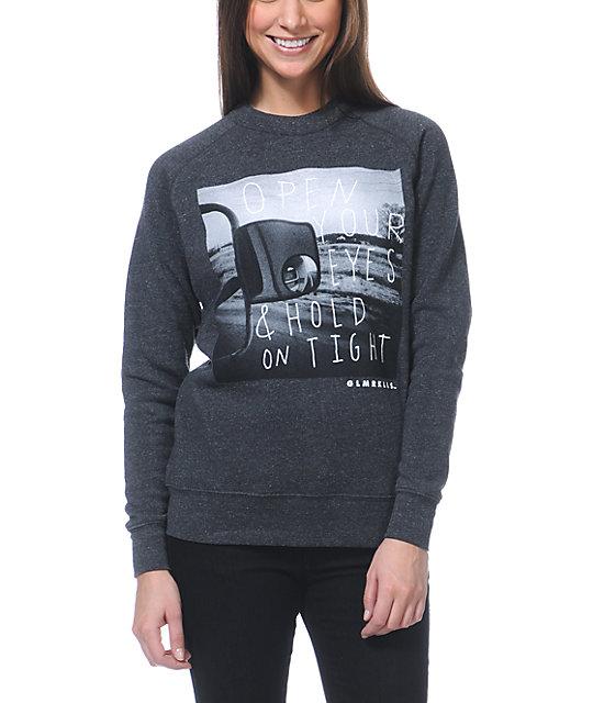 Glamour Kills Open Your Eyes Charcoal Crew Neck Sweatshirt