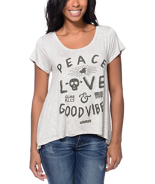Glamour Kills Peace Love & Good Vibes White Top