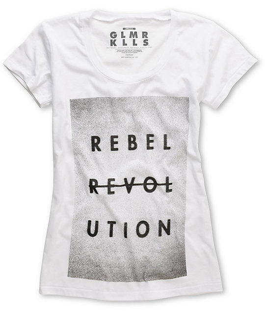 Glamour Kills Revolt-Lution White Scoop Neck T-Shirt
