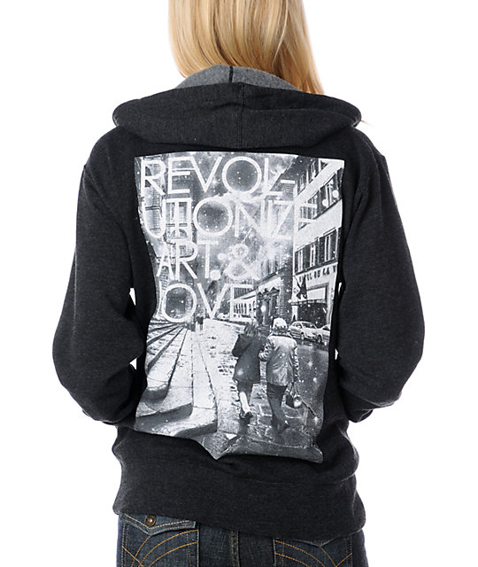 Glamour Kills Revolutionize Art & Love Charcoal Hoodie