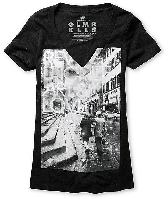 Glamour Kills Revolutionize Charcoal V-Neck T-Shirt