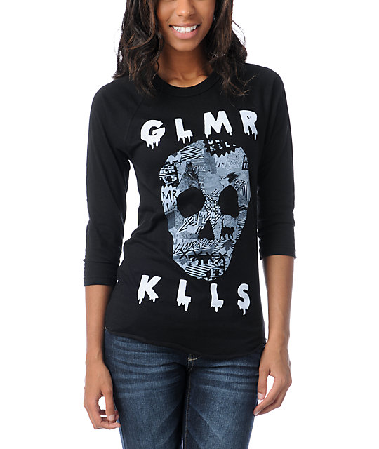 Glamour Kills Skulls Black Baseball Tee