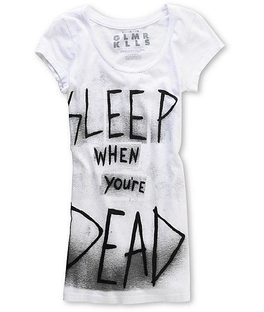Glamour Kills Sleep Time Scoop-Neck White T-Shirt