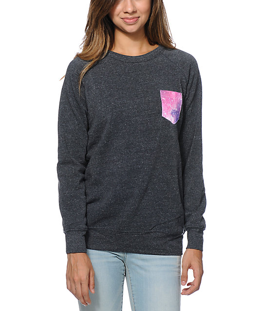 Glamour Kills Space Case Pocket Black Crew Neck Sweatshirt