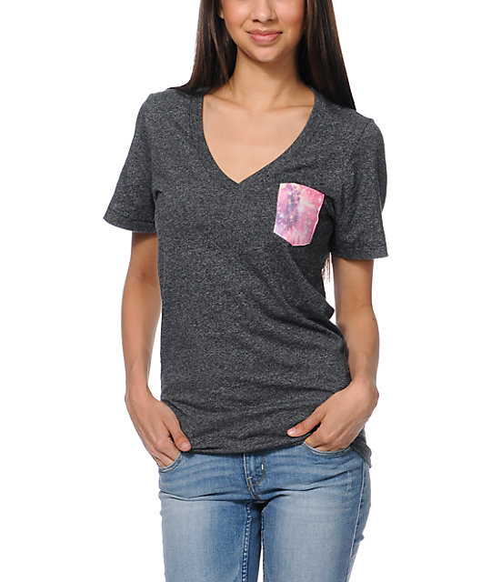 Glamour Kills Space Pocket Heather Black V-Neck T-Shirt