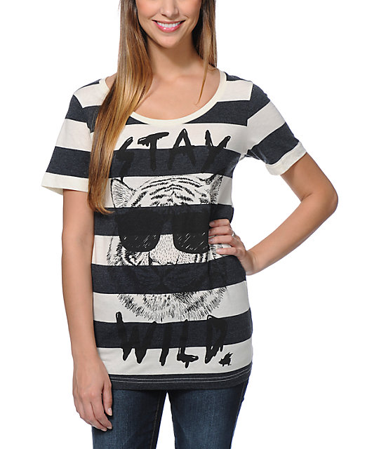 Glamour Kills Stay Wild Natural & Black Stripe T-Shirt