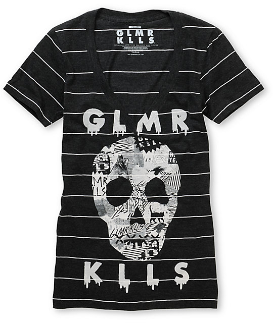 Glamour Kills Sweetest Fracture Charcoal Stripe V-neck T-Shirt
