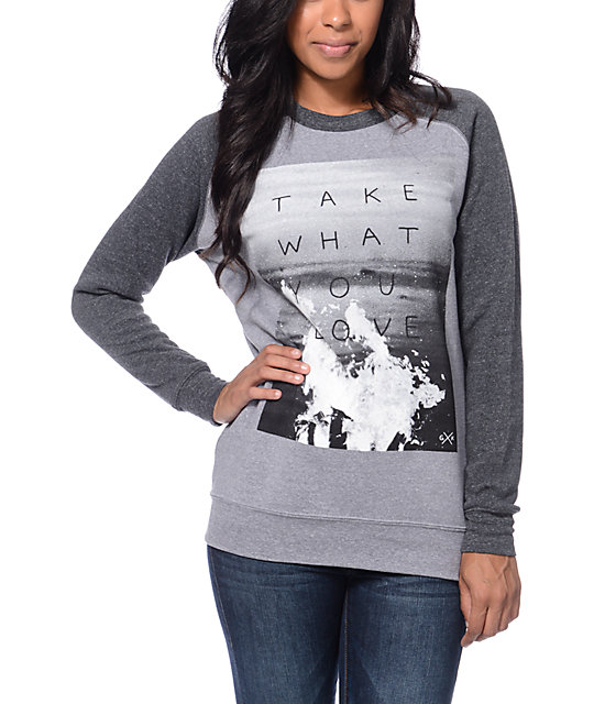 Glamour Kills Take What You Love Grey Crew Neck Sweatshirt