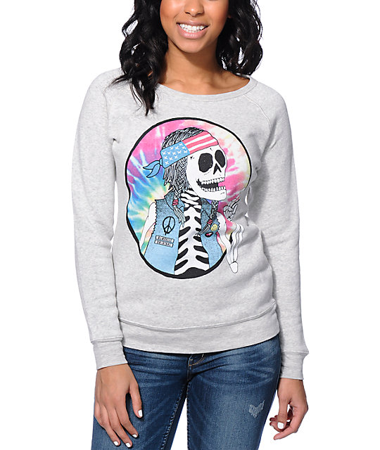 Glamour Kills The Beatnik Heather White Crew Neck Sweatshirt