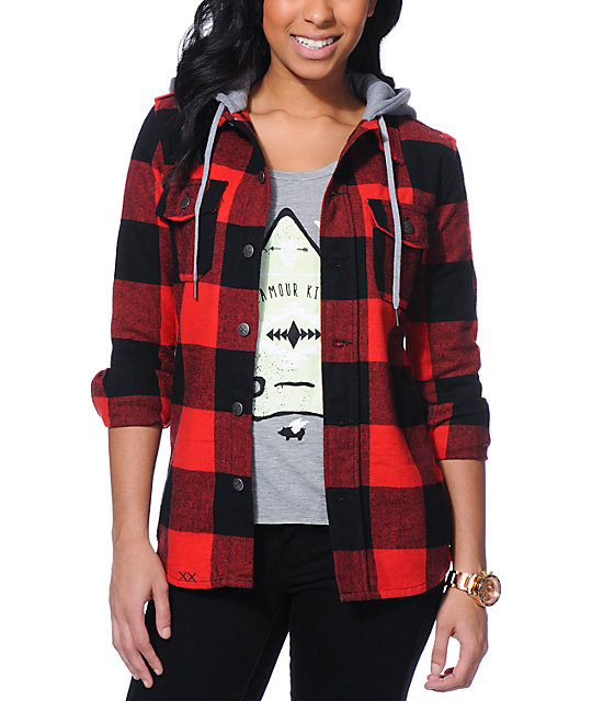 Glamour Kills The Hendersons Red & Black Hooded Flannel ...