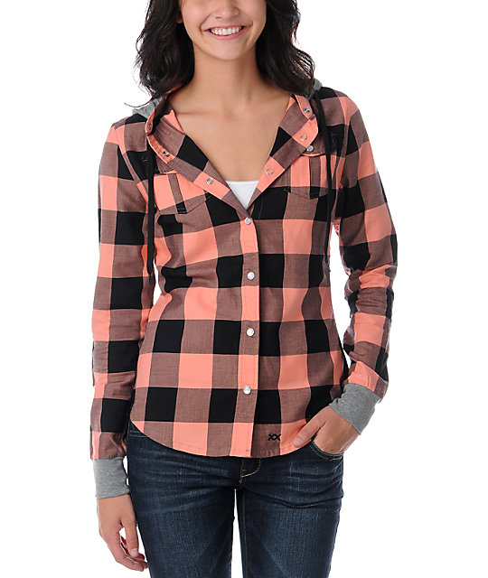 Glamour Kills The Observer Coral Plaid Hooded Shirt