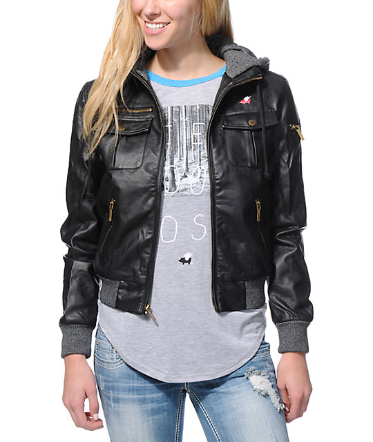 Glamour Kills The Tay Black Faux Leather Bomber Jacket | Zumiez