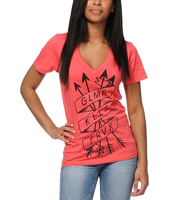 Glamour Kills Tried And True Pink V-Neck T-Shirt
