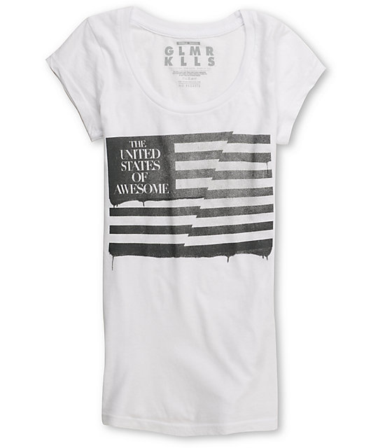 Glamour Kills United States of Awesome White Scoop Neck T-Shirt