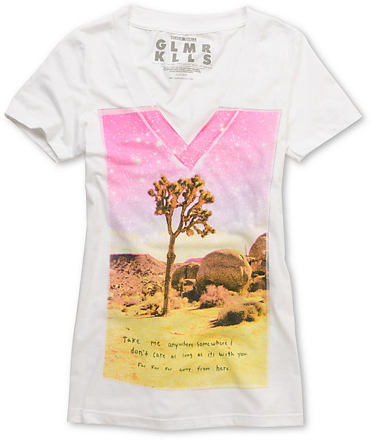 Glamour Kills Wandering Guild White V-Neck T-Shirt
