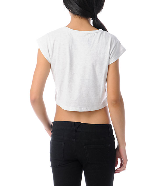 Glamour Kills Wave Cutter Heather White Crop T-Shirt