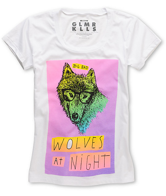 Glamour Kills Wolves At Night White Scoop Neck T-Shirt