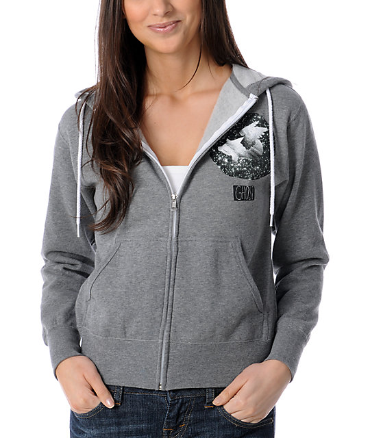 Glamour Kills Wondering Ghosts Grey Zip Up Hoodie