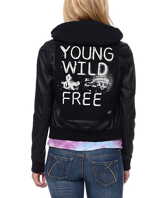Glamour Kills Young Wild & Free Black Faux Leather Jacket