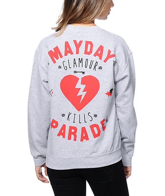 Glamour Kills x Mayday Parade Heather Grey Crew Neck Sweatshirt