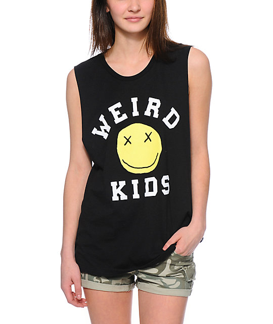 Glamour Kills x WATIC Stay Weird Black Muscle Tank Top