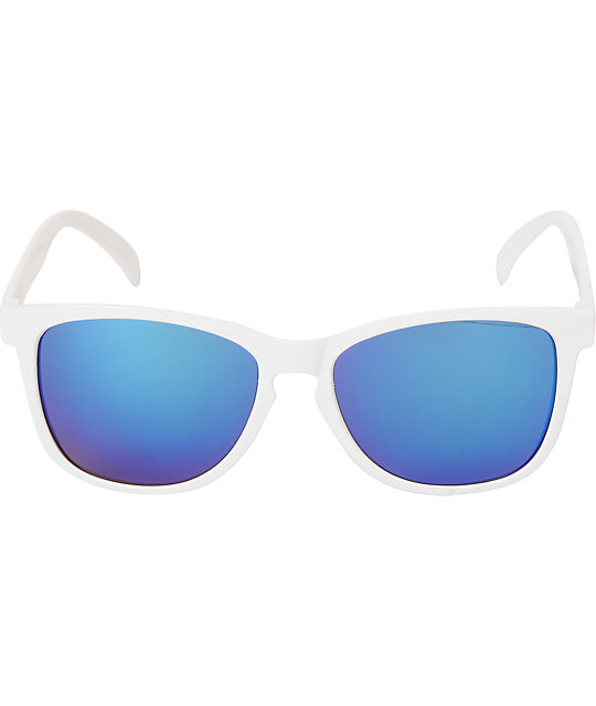 Glassy Deric Glossy White & Blue Mirror Sunglasses