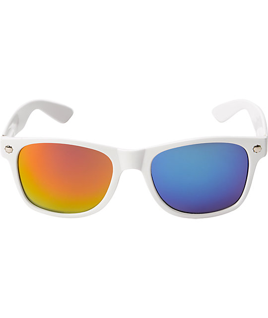 Glassy Leonard White, Red & Blue Mirror Sunglasses