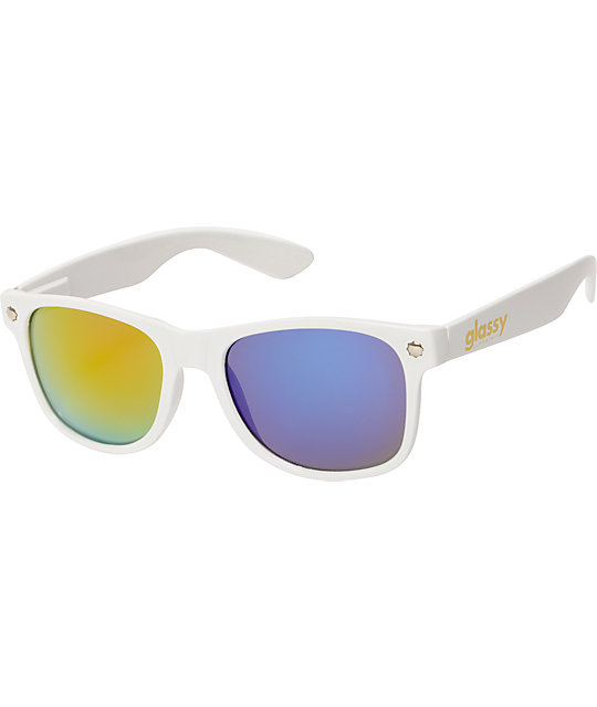 Glassy Leonard White & 3D Mirror Sunglasses