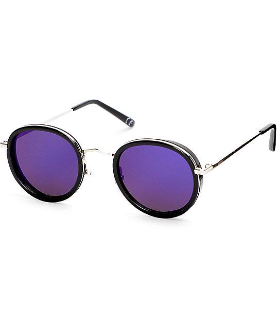 Glassy Lincoln Black Blue Mirror Sunglasses