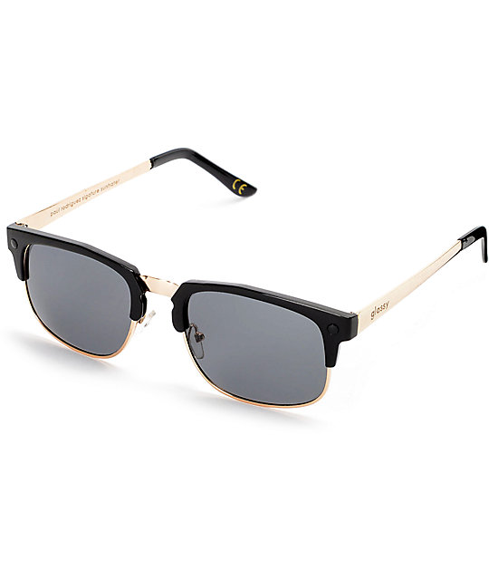 Glassy Prod Black & Gold Sunglasses