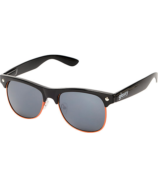 Glassy Shredder Black & Orange Sunglasses