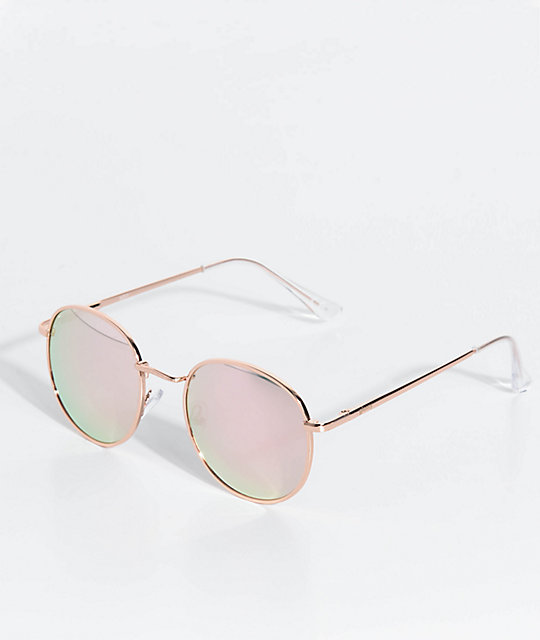 Glassy Sunhaters Ridley Rose Gold & Rose Mirror Sunglasses