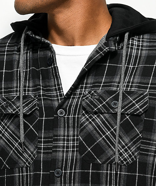 Globe Alford Black & Grey Thermal Hooded Flannel