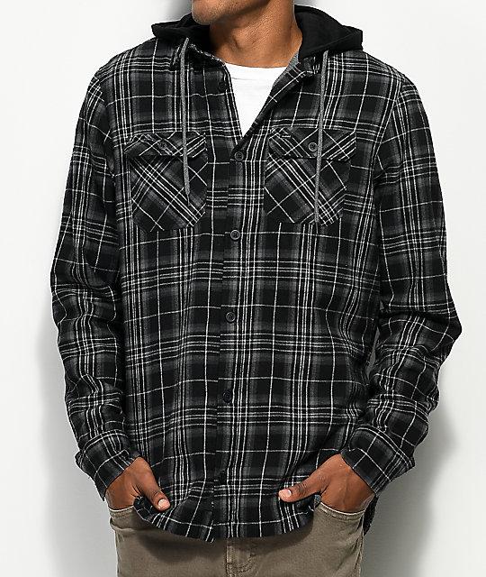 Globe Alford Black & Grey Thermal Hooded Flannel by Globe