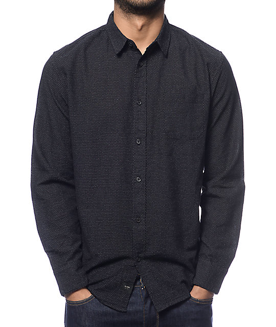 Globe Austin Dot Black Long Sleeve Button Up Shirt at Zumiez : PDP