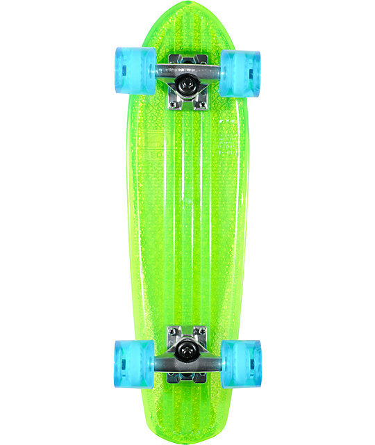 "Globe Clear Lime Green Bantam 24""  Complete Cruiser Skateboard"